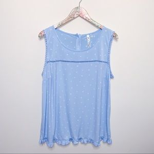 NY Collection Baby Blue Stars Tank Top